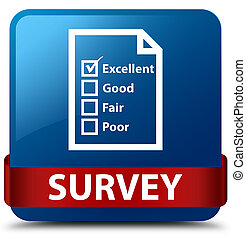 Survey (questionnaire icon) blue square button red ribbon in middle