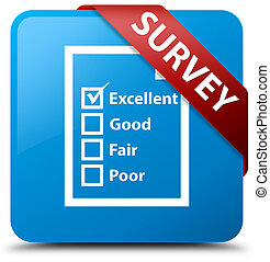 Survey (questionnaire icon) cyan blue square button red ribbon in corner