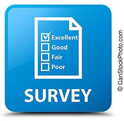 Survey (questionnaire icon) cyan blue square button