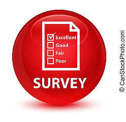 Survey (questionnaire icon) glassy red round button