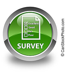 Survey (questionnaire icon) glossy soft green round button