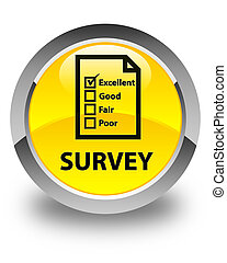 Survey (questionnaire icon) glossy yellow round button