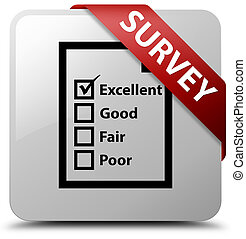Survey (questionnaire icon) white square button red ribbon in corner
