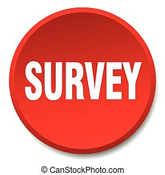 survey red round flat isolated push button