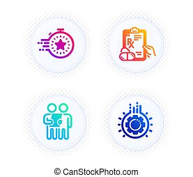 Survey, Timer and Prescription drugs icons set. Gear sign. Contract, Deadline management, Pills. Work process. Vector