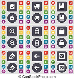 Survey, Truck, Dictionary, Magnifying glass, Battery, Lock, Pencil, Arrow left, Socket icon symbol. A large set of flat, colored buttons for your design. Vector