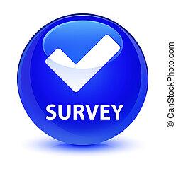 Survey (validate icon) glassy blue round button
