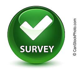 Survey (validate icon) glassy soft green round button