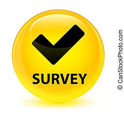 Survey (validate icon) glassy yellow round button