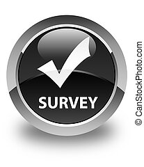 Survey (validate icon) glossy black round button