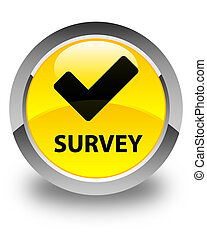 Survey (validate icon) glossy yellow round button