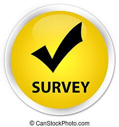Survey (validate icon) premium yellow round button