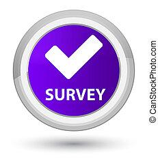 Survey (validate icon) prime purple round button