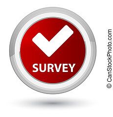 Survey (validate icon) prime red round button
