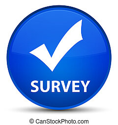 Survey (validate icon) special blue round button