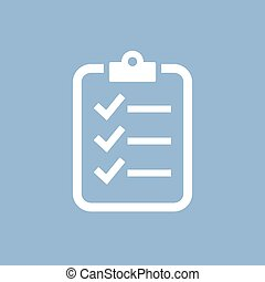 Survey vector icon isolated on blue background