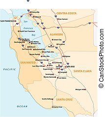 Survey vector map of Californian Silicon Valley, United...
