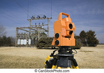 Surveying electric compound - spring land surveying.
