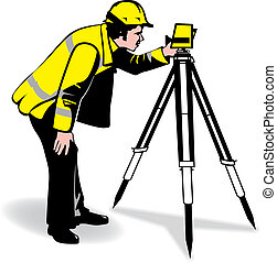 surveyor - a man surveying