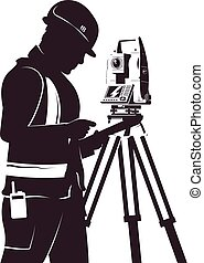 Surveyor and total station silhouette