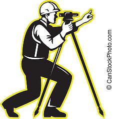 Surveyor Engineer Theodolite Total Station - Illustration of...