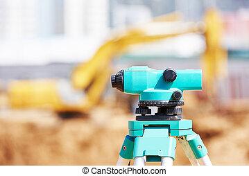 Surveyor equipment at construction site