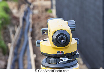 Surveyor equipment optical level at construction site