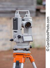 Surveyor equipment tacheometer or theodolite outdoors at...
