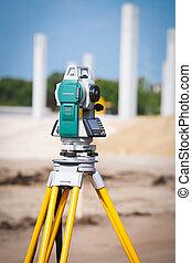 Surveyor equipment tacheometer or theodolite outdoors at ...