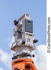 Surveyor equipment tacheometer or theodolite outdoors