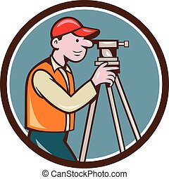Surveyor Geodetic Engineer Theodolite Circle Cartoon -...