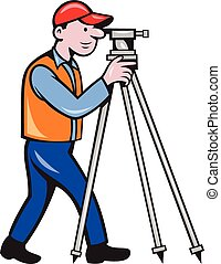 Surveyor Geodetic Engineer Theodolite Isolated Cartoon -...