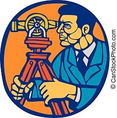 Surveyor Geodetic Theodolite Woodcut Linocut