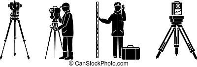 Surveyor icon set, simple style - Surveyor icon set. Simple...