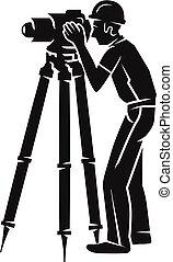 Surveyor icon, simple style - Surveyor icon. Simple...