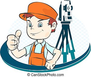 Surveyor illustration - Surveyor with a tool illustration