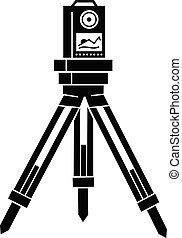 Surveyor instrument icon, simple style - Surveyor instrument...