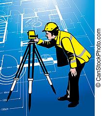 surveyor on a blueprint background
