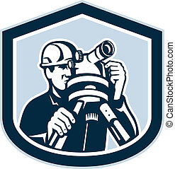Surveyor Surveying Theodolite Shield Retro - Illustration of...