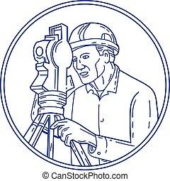 Surveyor Theodolite Circle Mono Line - Mono line style...