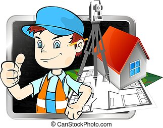 Surveyor with a tool for business illustration