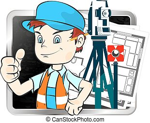 Surveyor with a tool - Surveyor with tools and drawings...