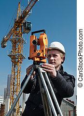 Surveyor with transit level equipment