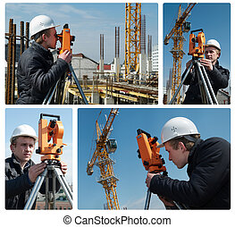 Surveyor with transit level equipment - set of images. ...