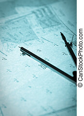 surveyor\'s plan and circle with backlight