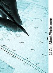 surveyor's plan and pencil with backlight - surveyor's plan ...