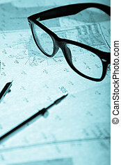 surveyor\'s plan, circle and retro glasses with backlight