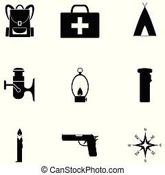 survie, ensemble, kit, icône