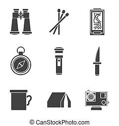 survie, ensemble, kit, icônes