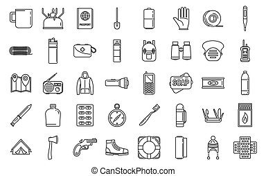 Survival activity icons set, outline style